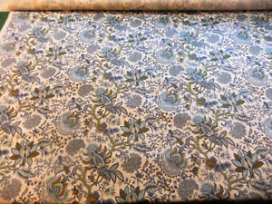 19 8/12ft Of Satin Vintage Years 70 Pattern Persian Blue - Width 4 8/12ft