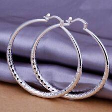 925 Sterling Silver Plated Big Hoop Earrings Diamond Cut 50mm + Bag UK