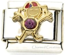 February Boy 9mm Italian Charm Stainless Link Birthstone Birthday Kid Son Purple