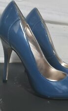 "steve madden blue patent leather womens shoes size 7 w 5"" heel"