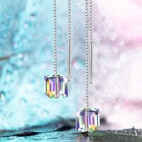 Long Silver Clear Aurora Borealis AB Austrian Crystal Pageant Earrings