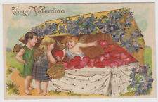 Boy Girl Cupids Buying Hearts at Market Stand Postcard