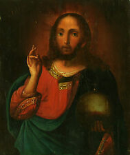 ANTIQUE RUSSIAN ICON OF JESUS THE PANTOCRATOR 19 century