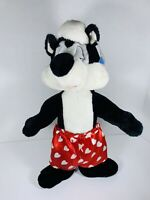 """Looney Tunes 1997 Pepe Lew Pew Skunk Plush ACE Red Heart Boxer Short Trunks 19"""""""
