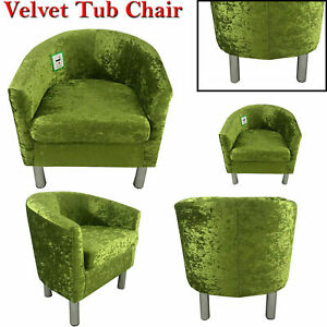 Modern Occasional Accent Tub Chair Crushed Velvet Armchair Chairs One Sofa Seat