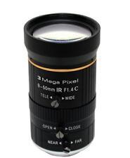 "Camera Varifocal Lens 3MP FL 8mm-50mm F1.4 C Mount FOV 41°-7.2° Format 1/2"""