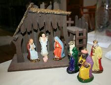 Vintage German Nativity Set Christmas Creche Wood Manger Papier Mache Chalkware