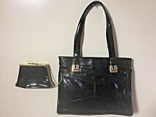 Vintage LOU TAYLOR Black Patent Leather Kelly Purse Handbag Coin Purse Mirror