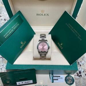 2021 ROLEX 124200 Oyster Perpetual OP 34mm Pink Dial Stainless Steel 34