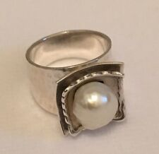 SILPADA Freshwater Pearl and Hammered Sterling Silver Ring R0898 Sz 4.75