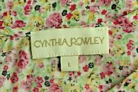 Cynthia Rowley large top tiny floral pattern pink yellow green flutter sleeve 1C