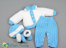 Hand Knitted Baby Outfit Cardigan Trousers Hat Booties Set 0-3 months