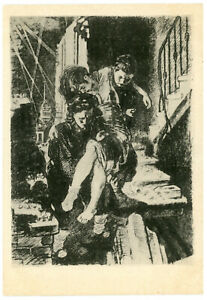 WW2 Leningrad In the lesion by PAKHOMOV Bombing Girl Injured Russian Postcard