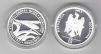 MOLDOVA - SILVER PROOF 50 LEI COIN 2013 YEAR RED BOOK DAMSELFLY + BOX + COA