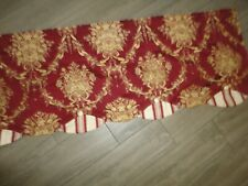 WAVERLY CHATHAM MOMENTO RED FLORAL & GOLD STRIPE (1PC) BUTTON VALANCE 18 X 76