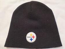 NEW NFL Team Apparel Pittsburgh Steelers Logo Black Beanie Knit Cap Hat Adult
