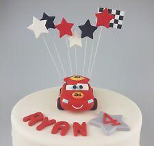 Edible 3D Cars Lightening Mcqueen Cake Topper Birthday Disney Inspired Name Age