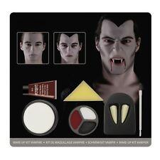 Mens Halloween Vampire Count Dracula Make Up Kit Face Paint + Teeth Fancy Dress