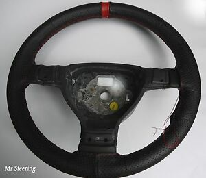 FOR CHEVROLET BEL AIR 5 BLACK PERFORATED LEATHER STEERING WHEEL COVER +RED STRAP