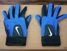 NIKE Blue Nylon Black Calf Leather Batting Gloves M-L Mens