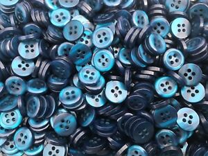 Shirt Buttons Turquoise 4 Hole 25 Pcs Size 18L 11.4mm Dia x 2.4mm Pearl Effect