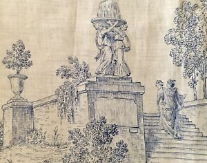 Vintage French Figural Architectural Pastoral Linen Toile Fabric ~ Blue White