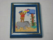 Winnie the Pooh Eeyore Mailbox Small Painting Frame Disney OOAK 4x5 Original Art