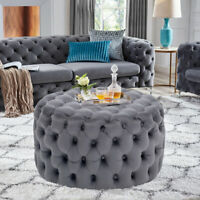 Round Velvet Table Buttoned Ottoman Chesterfield Pouffe Vanity Chair Sofa Stools