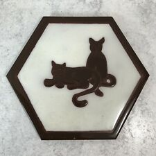 VTG ARIUS TILE CO. Santa Fe Ceramic Tile Trivet Cats Hexagon Sassuolo Italy