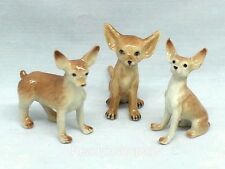 Chihuahua Dog Figurine Miniature Ceramic Animal Collectible Hand Painted Brown