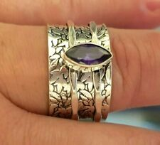 Gifts for Her-size P-Marquise cut AMETHYST Gemstone Spinner Ring Sterling SILVER
