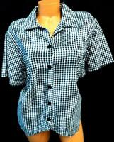 Carolina colours black white gingham plaid women's plus dressy career top 22W