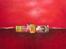 Large Peinture À L'huile Sur Toile - Londres Pendant La Nuit - Art Moderne
