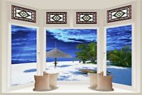 Huge 3D Bay Window Exotic Midnight Beach Sea View Wall Stickers Wallpaper 605