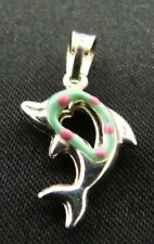 Aquamarine Pink Sterling Silver Dolphin Porpoise Necklace Pendant Charm Italy