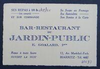 Carte de visite BAR RESTAURANT DU JARDIN PUBLIC Goalard BIARRITZ