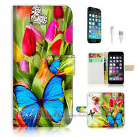 ( For iPhone 7 ) Wallet Case Cover P1074 Butterfly Flower