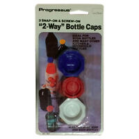 PROGRESSOR 960 3 Snap-On & Screw-On 2-Way Bottle Caps for Soda/Wine/Beer Bottles