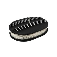 "Retro Black Powder Coated Aluminum Air Cleaner 12"" x 2"" Oval Partial Finned"