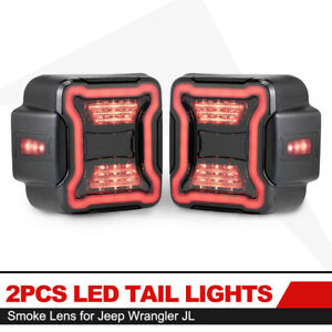 2X LED Tail Lights Smoked Lens w/Reverse Turn Signal Lights for Jeep Wrangler JL