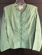 Adrianna Papell Green Embroidered Silk Blouse with Beads - Size 10.