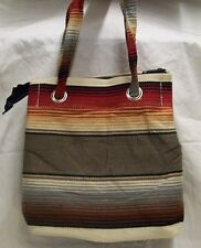 Serape Purse or Tote Bag Ladies Southwest Mexican Style Sand and Sage Dark Brown