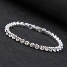 Silver Plated Tennis Bracelet Made with Swarovski Crystal Rhinestone Bridal