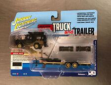 Johnny Lightning New Truck & Trailer 1980 Toyota Land Cruiser W/Open Car Trailer