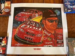 Rare Signed Sam Bass Dale Earnhardt Jr Red Rocks Poster Print 2003 Autographed