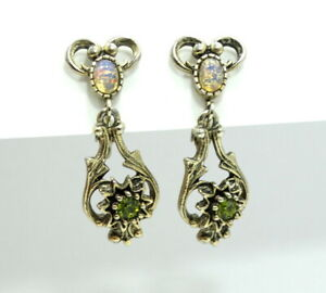 Vintage SARAH COVENTRY Green Opal Rhinestone Gold Toned Clip On Dangle Earrings