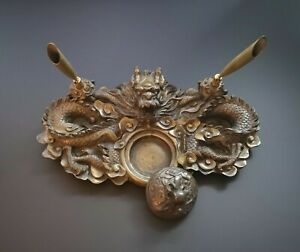 Antique Japanese/oriental Bronze Dragon Pen/brush Holder, Desk Set