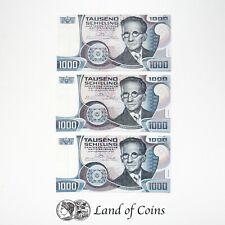 AUSTRIA: 3 x 1,000 Austrian Schilling Banknotes.