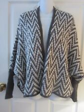 WOODEN SHIPS ANTHROPOLOGIE MOHAIR WOOL GRAY CHEVRON OPEN FRONT CARDIGAN~XS/SM