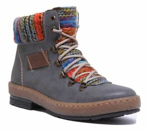 Rieker Z6743 Warm Hiker Lace up Boot EX DISPLAY In Grey Size UK 5